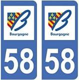 EUSKAL HERRIA EH 2 Autocollants 58 Nièvre Plaque immatriculation département Auto 58 Nièvre : Angles arrondis