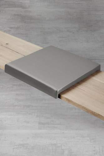 Klemm-Kissen Sitzbank Küchenbank Alesia – 2er Set – 44x6x44 cm – weiches Sitz-Kissen, Kunstlederbezug für Sitzbanktiefe 40 cm - Farbe: Grau