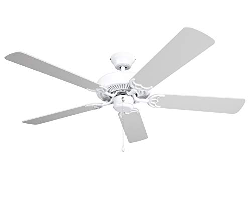 Hyperikon 42 Inch Ceiling Fan No Light, 55W, Remote Control and Pull Chain, White Body, 5 Blades, White