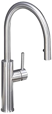 KINFAUCETS Modern Commercial Stainless Steel Single Handle Pull Down Kitchen Faucet with Sprayer, 1 Or 3 Hole Prep Kitchen Sink Faucet for Farmhouse Rv Camper Laundry Utility Bar Sinks by KINFAUCETS