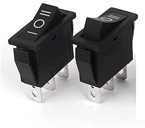 LLXXD 10 Piezas Negro 3 Pines ON-Off-ON 3 Posiciones Interruptor basculante 15A / 250V 20A / 125V SPDT Piezas de Repuesto