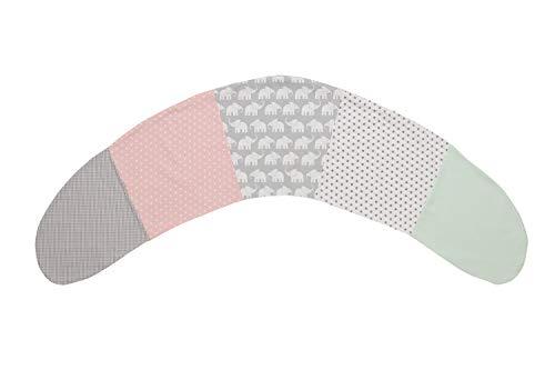 Funda para cojín de lactancia de ULLENBOOM ® elefantes menta rosa (funda para cojines de lactancia de 190x38 cm; cojín de apoyo, almohada para dormir de lado)