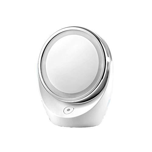 Espejo de maquillaje con luz LED de doble cara giratorio de 360 grados de espejo de escritorio para dormitorio dormitorio Xuan - vale la pena tener (color: -, tamaño: -)