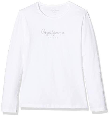 Pepe Jeans Hana Glitter L/S Camiseta, Blanco (White 800), 8 años para Niñas