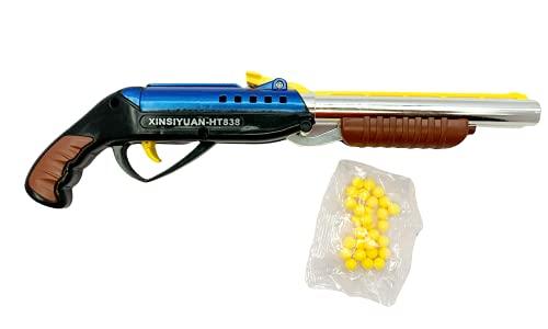 AbracaBoo PUBG Double Barrel Rifle Gun with 6 MM Plastic BB Bullets Toy Gun/ Air Gun Target Shooting Gun for Boys, Role Play Game for Kids/Boys/Children- Multi Color