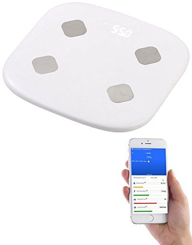 newgen medicals WLAN Waage: 8in1-Körperanalysewaage mit WLAN und App, bis 155 kg, für Apple Health (WLAN Personenwaage)