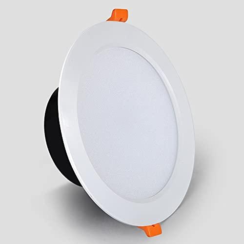 Ssydj 12W LED Downlight Para Luces Empotradas De Techo Plano Redondo IP44 Impermeable Frío Iluminación Blanca 6000K Diámetro Diámetro 135mm Diámetro De La Unidad Interna Para El Baño Oficina De Cocina