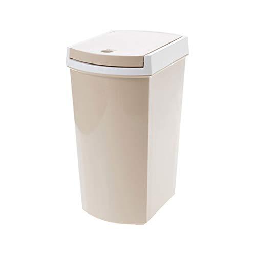 NYKK Cubos de Basura para Exterior Papelera Liviana y Duradera, Manual, con Tapa, Ahorra Espacio (10 litros) Basurero Reciclaje