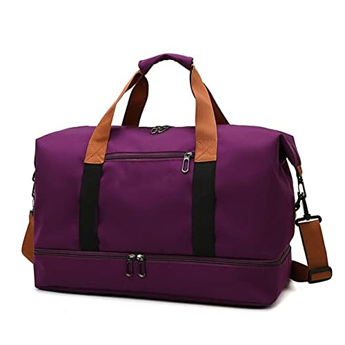 YYDM Bolsa de viaje para mujer, impermeable, de gran capacidad, bolsa de viaje para fin de semana, ligera, bolsa de viaje, color morado