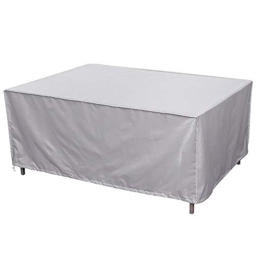 LDIW Funda para Muebles de Jardín Exterior, Paño Oxford 420D Cubierta de Mesa y Silla para Muebles de jardín Rectangular,Plata,350x260x90cm