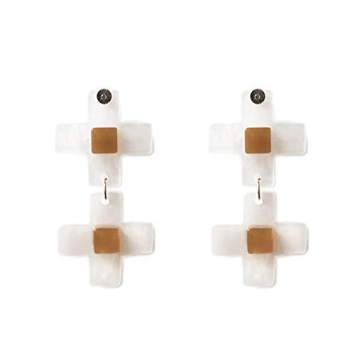 Kruis gelukkige oorbellen met dezelfde handgemaakte eenvoudige koude azijnzuur oorbellen