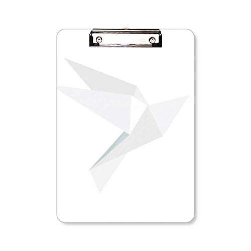 Witte Origami Abstract Duif Patroon Klembord Folder Schrijven Pad Backing Plaat A4