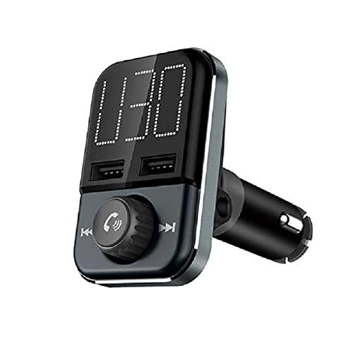 TOTMOX Transmisor FM Bluetooth para coche, adaptador de audio para coche con 2.4A+1A de carga rápida puertos USB duales, llamadas manos libres, reproductor de música MP3, con cable de audio AUX