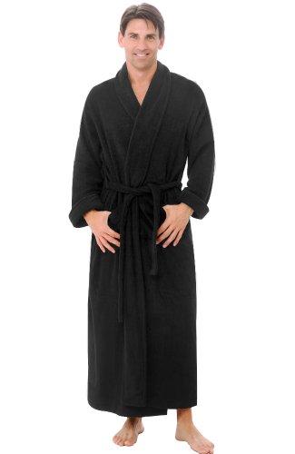 Alexander Del Rossa Mens Turkish Terry Cloth Robe, Long Cotton Bathrobe, Large XL Navy Blue (A0126NBLXL)