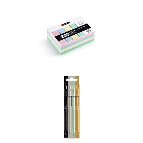 MIQUELRIUS - Flashcards Tarjetas para Estudio, Fichas para notas, Rayas Horizontales, Tamaño A6 105 x 148 mm, Colores pastel + Bolis Intensos