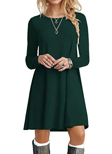 POPYOUNG Women's Long Sleeve T Shirt Dresses Casual Swing Dress M, Dark Green