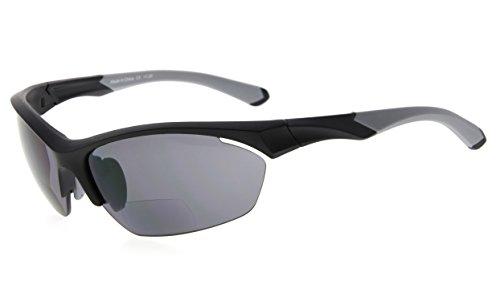 Eyekepper TR90 Sport Bifokale Sonnenbrille Baseball Laufen Angeln Fahren Golf Softball Wandern Halbrandlose Lesebrille (Schwarzer Rahmen Grauer Tempel, 1.50)