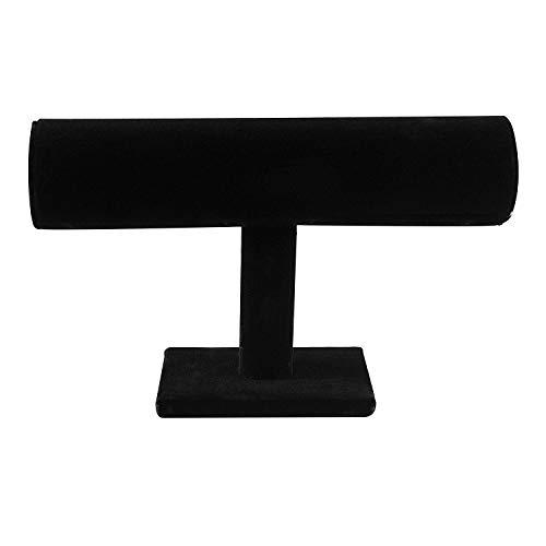 Black Velvet Hovering T-Bar Bracelet Necklace Jewelry Display Stand for Home Organization