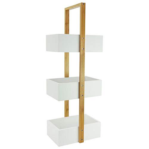 shelfmade Badezimmer-Regal aus Bambus, weiß, schmales Bad-Regal mit 3 Ebenen, Standregal, Nischenregal, Küchenregal, ohne Bohren