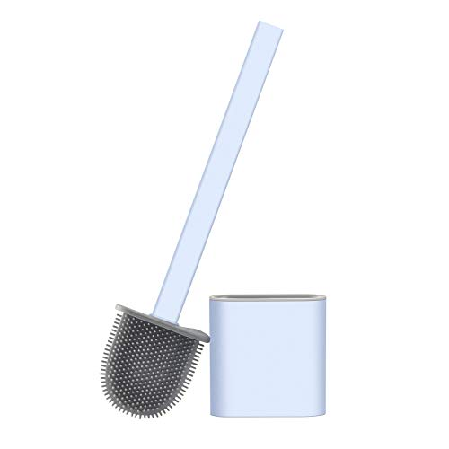 Domccy Toilet Brush and Holder Set, Creative Silicone Bathroom Cleaning Brush Set, Soft Crevice Brush Bristles Long Handle Bathroom Cleaning Brush Kit Easy to Clean Corners and Storage White