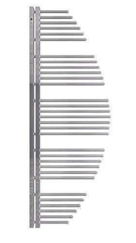 Mert Aycan Design Heizung gebogen elektrisch oder Warmwasser 1/2 Zoll Bad-Heizung 1200x500 Bad-Heizkörper Anschluss 50 mm chrom Handtuchhalter für Wandmontage