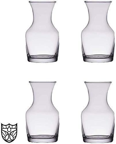 The Bar Glass Single Serving Glass Wine Carafe 6.5 oz - Mini Decanters - Small Individual Carafes (4, 6.5 oz)