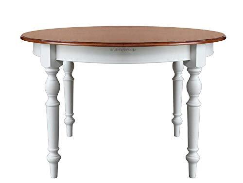 Arteferretto Table de Cuisine ou Salle à Mange Ronde diamètre 120 cm avec rallonge Interne, Finition Bicolore