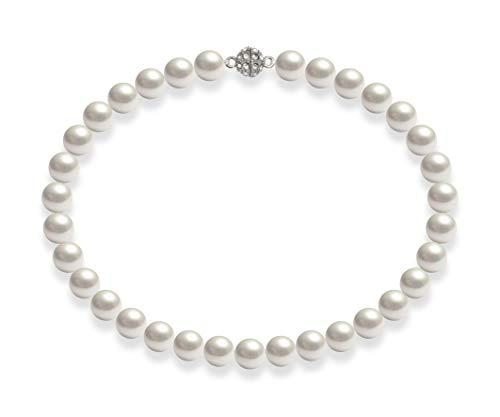 Schmuckwilli Damen Muschelkernperlen Perlenkette Weiß Magnetverschluß echte Muschel 50cm dmk2017-50 (12mm)