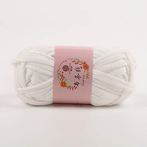 JAP768 Camiseta voluminosa Hilado Ajuste for Tejer a Mano Alfombra de Tejer Trampa Crochet Bricolaje Bolso Manta Suave Gruesa Tela trapillo Hilado (Color : Blanco)