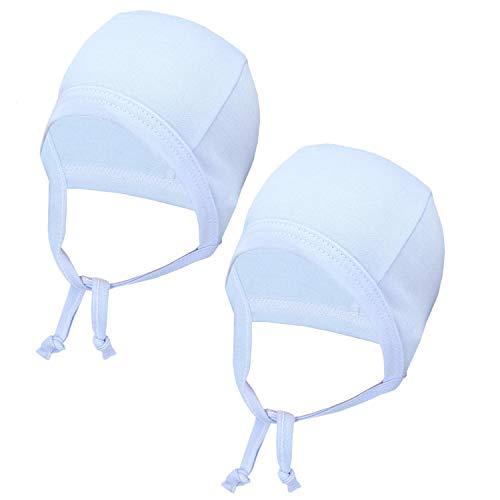 TupTam Unisex Baby Erstlingsmütze zum Binden 2er Pack, Farbe: Blau, Größe: 50/56