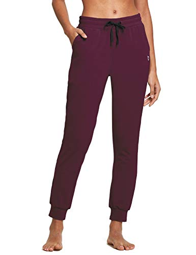 BALEAF Women's Cotton Sweatpants Lightweight Joggers Pants Tapered Active Yoga Lounge Casual Pants with Pockets Burgundy Size L