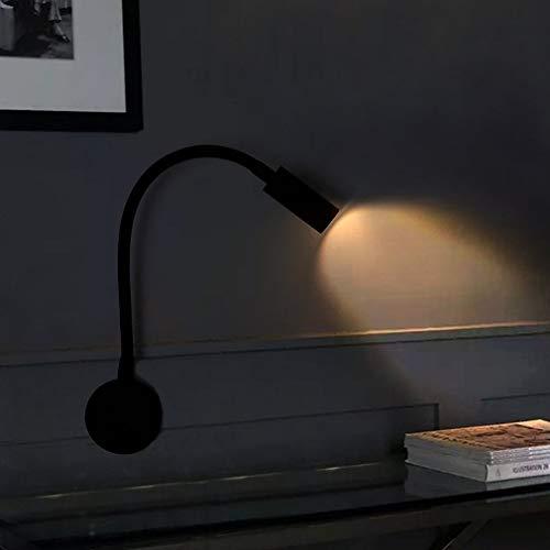 Lámpara de pared LED de 3 W, flexible montaje en pared, cuello de cisne, luz de lectura nocturna con interruptor para dormitorio, sala de estar