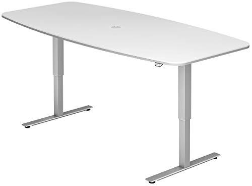 bümö® ergonomischer Konferenztisch elektrisch höhenverstellbar | elektrischer Besprechnungstisch | höhenverstellbarer Meetingtisch oval rund 220x103/83 cm weiß