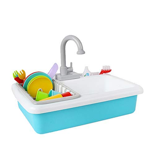 SOWOW Kitchen Sink Toys Pretend Play - Dishwasher Playing Toy with Running Water Wash Up Kitchen Toys Pretend Role Play Toys for Boys Girls Toddlers