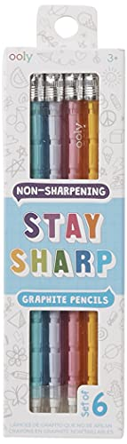 Ooly Stay Sharp Non-Sharpening No. 2 Graphite Pencils - Refillable Pencil Lead with Eraser - Rainbow Colors - Set of 6