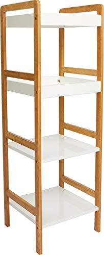 Premier Housewares 2402905 Étagère de 4 Niveaux en Bambou/MDF Laqué Blanc