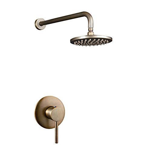 Jiuzhuo Soffione per doccia a pioggia Solo sistema di doccia di montaggio a parete in ottone antico
