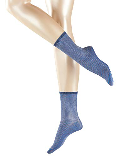 ESPRIT Damen Glitter W SO Socken, Blickdicht, Blau, 39-40 (UK 5.5-6.5 Ι US 8-9) (2er Pack)
