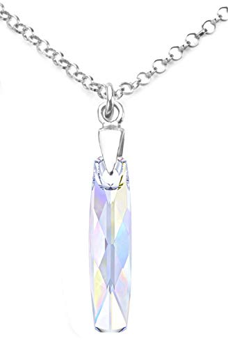 Ah! Jewellery Aurore Boreale 20mm Column Crystal Pendant Necklace. Sterling Silver Stamped 925 Anchor Chain Included Hand Crafted to A High Standard