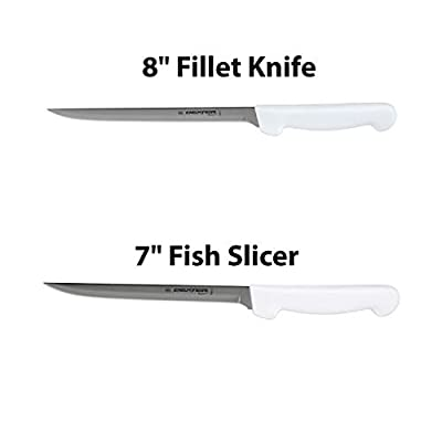 "Dexter-Russell 7"" and 8"" Fillet Knife w/Polypropylene White Handle,Boning Knife, Flexible Fillet Knives for Meat Fish Poultry Chicken,Chef Bone Knife,Carbon Steel, bundle"