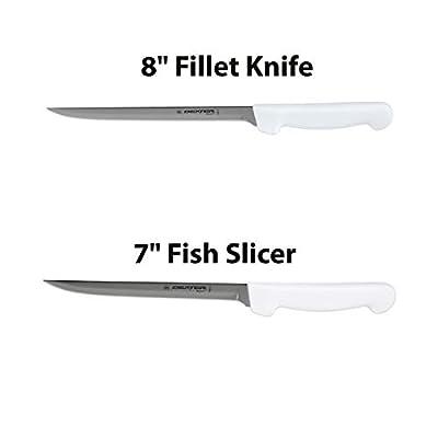 "Dexter-Russell 7"" and 8"" Fillet Knife w/Polypropylene White Handle,Boning Knife, Flexible Fillet Knives for Meat Fish Poultry Chicken,Chef Bone Knife,Carbon Steel, bundle"