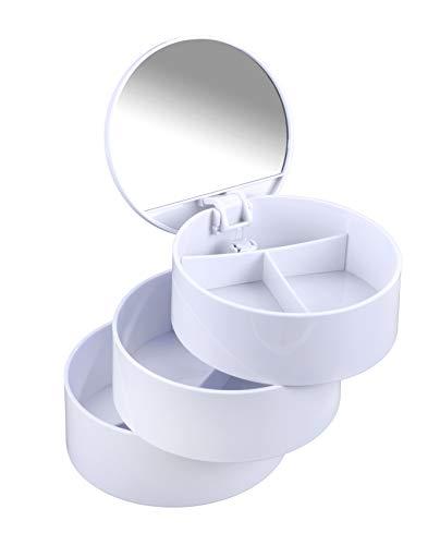 WENKO Kosmetik Tower Weiß - Kosmetik Organizer mit 3 drehbaren Fächern und Spiegel, Kunststoff (ABS), 13 x 14 x 13 cm, Weiß