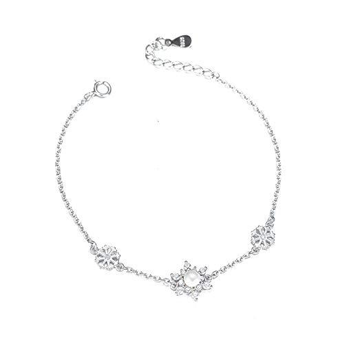1 pulsera para mujer con diseño de copo de nieve y perlas de plata de ley