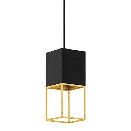 Eglo Montebaldo - Lámpara de techo colgante, 1 foco, vintage, industrial, lámpara de techo de acero en negro, dorado, lámpara de mesa de comedor colgante con casquillo GU10