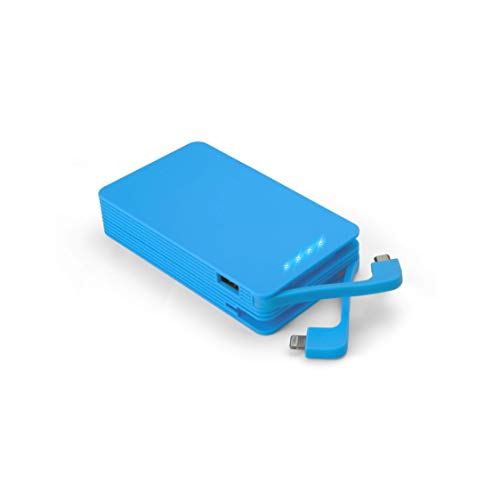 Juice Weekender High Capacity Portable Power Bank with Built In Connectors, iPhone, Samsung, Huawei, iPad, 8400 mAh, Blue