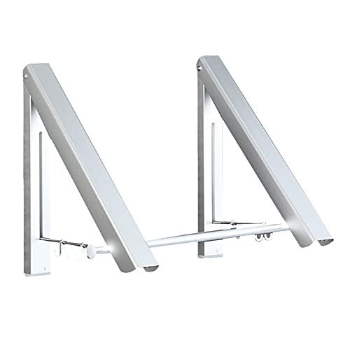 Bospyaf Tendedero Portátil Telescópico De Doble Propósito De Aluminio, Percha De Pared Plegable Libre Perforada,Plata,B Without Pole