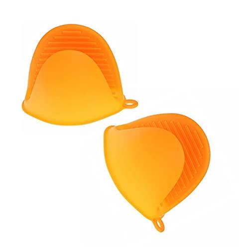 2 manoplas de silicona para horno, protección de los dedos, mini guantes antiquemaduras para hornear, guantes de horno (naranja)
