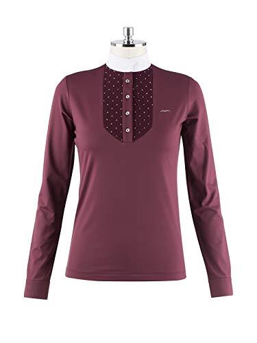 Animo Damen Turniershirt Polo Shirt Birad Langarm Weiss Swarovski (D36/I42)
