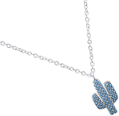 ZPPYMXGZ Co.,ltd Collar de joyería de Moda Cactus Azul Gargantillas Collares Mujeres Collares Hombres Collar de Regalo de Boda