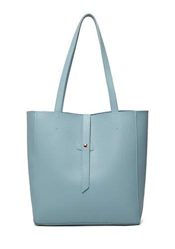 Dreubea Women's Large Tote Shoulder Handbag Soft Leather Satchel Bag Hobo Purse Light Blue